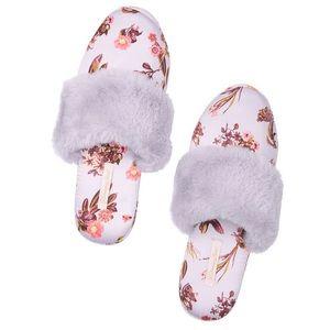 Victoria's Secret Fur Lined Satin Slippers